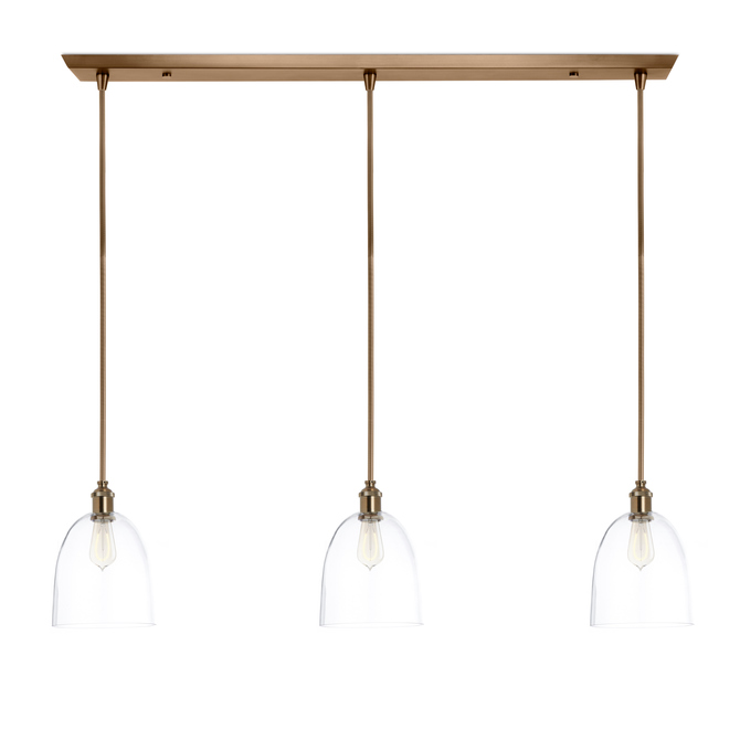 3 Light Rectangle Canopy With Alton Pendants Chic Dome Gl And Rod Sets Bronze