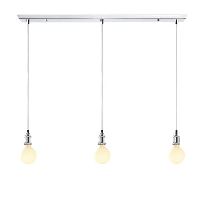 3-Light Rectangle Canopy with 3 Alton Pendants, Chrome