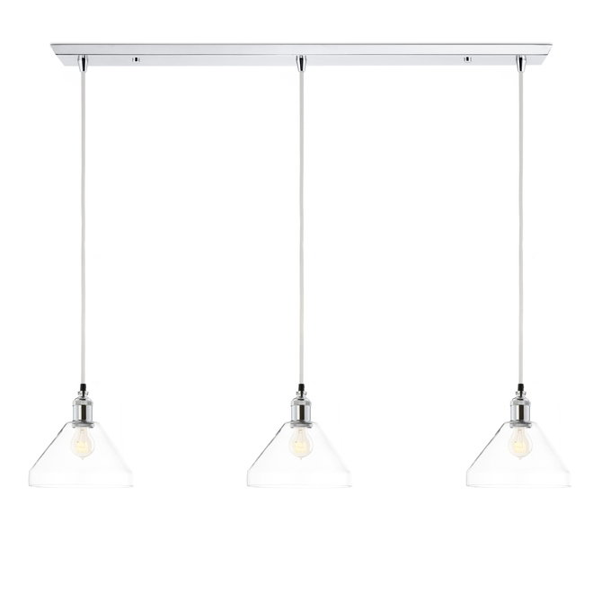 3-Light Rectangle Canopy with Alton Pendants and Tapered Glass, Chrome