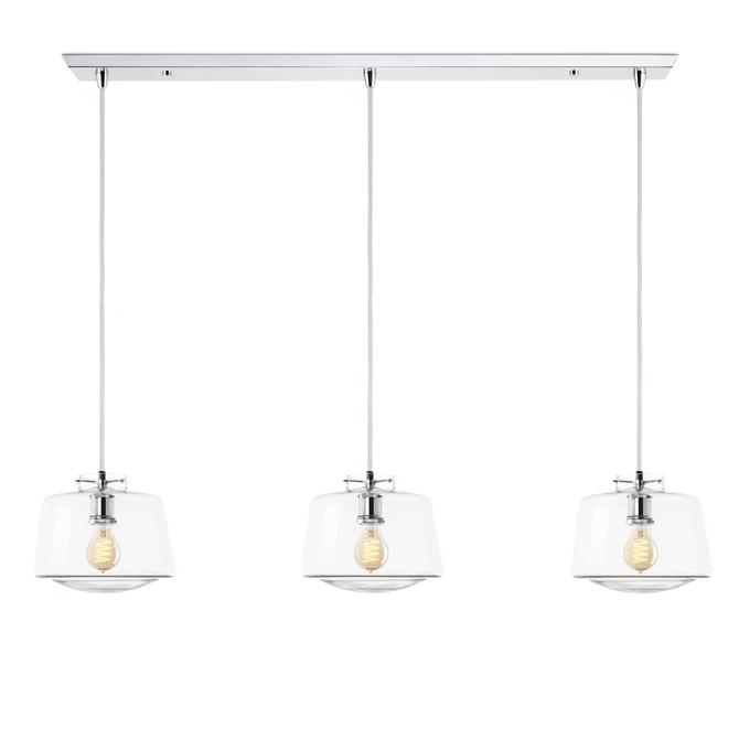 3-Light Rectangle Canopy with Alton Pendants and Schoolhouse Glass, Chrome
