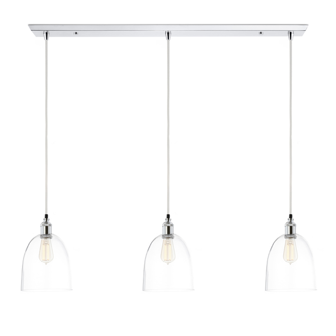 3-Light Rectangle Canopy with Alton Pendants and Chic Dome Glass, Chrome