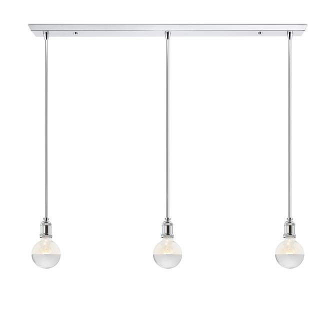 3-Light Rectangle Canopy with 3 Alton Pendants and 3 Rod Sets, Chrome