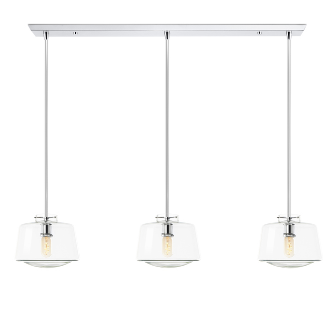 3-Light Rectangle Canopy with Alton Pendants, Schoolhouse Glass and Rod Sets, Chrome