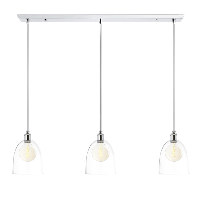 3-Light Rectangle Canopy with Alton Pendants, Chic Dome Glass and Rod Sets, Chrome