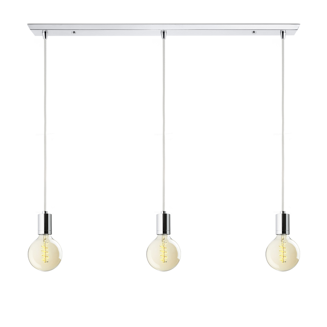 3-Light Rectangle Canopy with 3 Arlo Pendants, Chrome