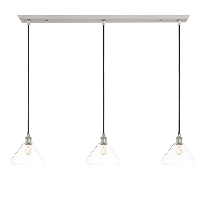 3-Light Rectangle Canopy with Alton Pendants and Tapered Glass, Satin Nickel