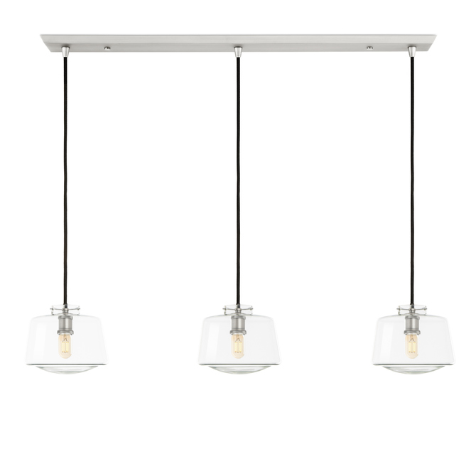 3-Light Rectangle Canopy with Alton Pendants and Schoolhouse Glass, Satin Nickel