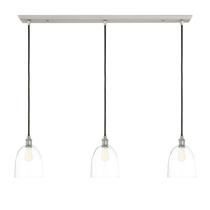 3 Light Rectangle Canopy With Alton Pendants And Chic Dome Gl Satin Nickel