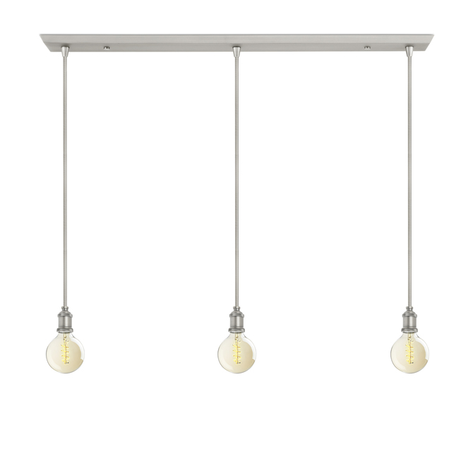 3-Light Rectangle Canopy with 3 Alton Pendants and 3 Rod Sets, Satin Nickel