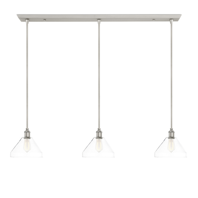 3-Light Rectangle Canopy with Alton Pendants, Tapered Glass and Rod Sets, Satin Nickel