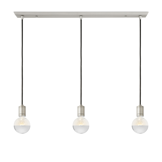 3-Light Rectangle Canopy with 3 Arlo Pendants, Satin Nickel