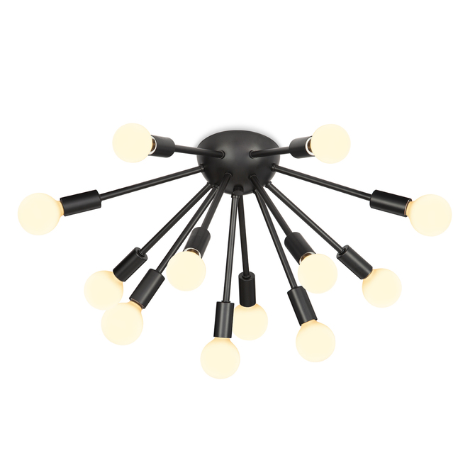 12-Light Matte Black Sputnik Flush Mount