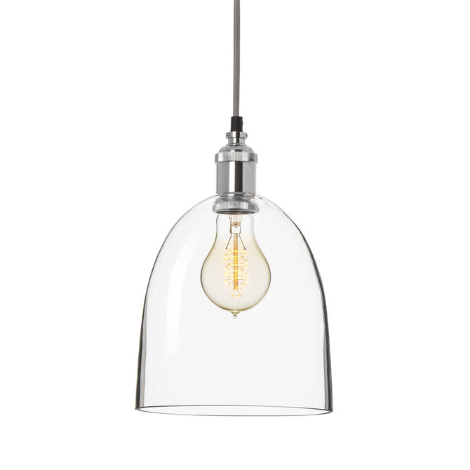 Alton Pendant Chic Dome Glass, Chrome