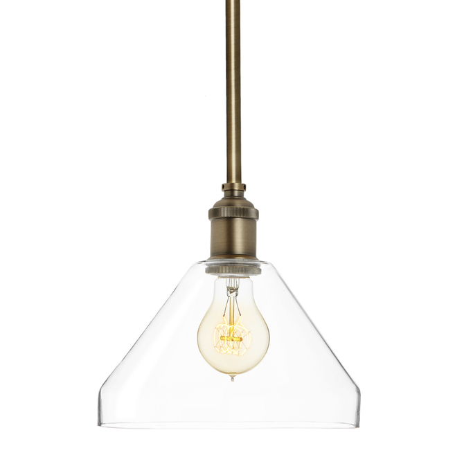 Alton Pendant with matching Rods and Tapered Glass Shade, Bronze
