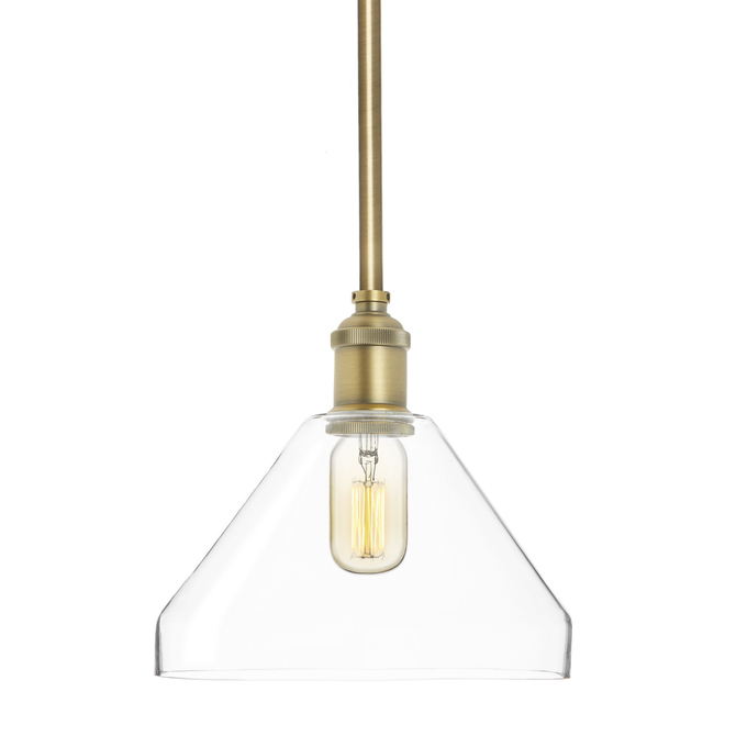 Alton Pendant with Matching Rods and Tapered Glass Shade, Aged Brass