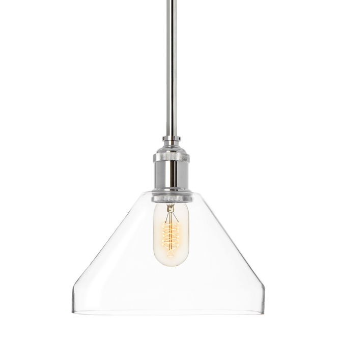 Alton Pendant with Matching Rods and Tapered Glass Shade, Chrome
