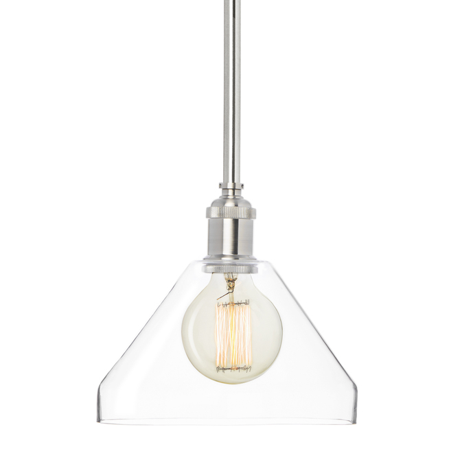 Alton Pendant with Matching Rods and Tapered Glass Shade, Satin Nickel