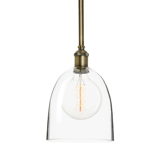 Alton Pendant with Matching Rods and Chic Dome Glass Shade, Bronze