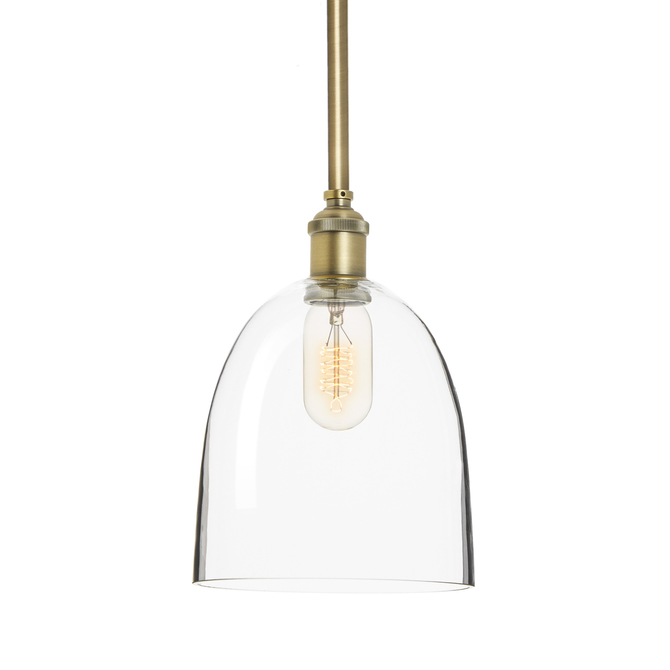 Alton Pendant with Matching Rods and Chic Dome Glass Shade, Aged Brass