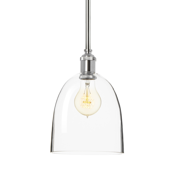 Alton Pendant with Matching Rods and Chic Dome Glass Shade, Chrome