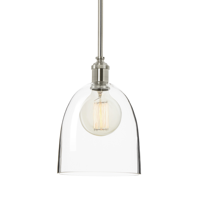 Alton Pendant with Matching Rods and Chic Dome Glass Shade, Satin Nickel