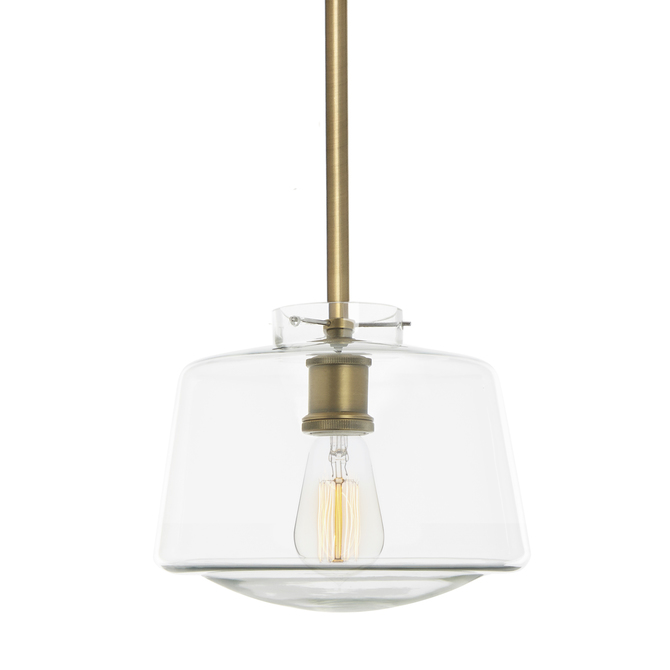 Alton Pendant with matching Rods and Schoolhouse Glass Shade, Aged Brass