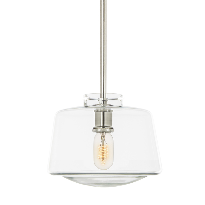 Alton Pendant with matching Rods and Schoolhouse Glass Shade, Satin Nickel
